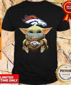 Official Baby Yoda Face Mask Denver Broncos Tee Shirt