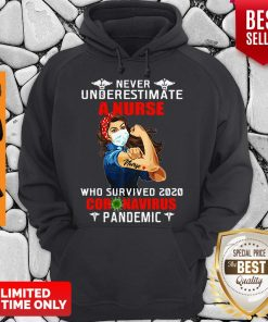Strong Girl Never Underestimate A Nurse Who Survived 2020 Coronavirus Pandemic Hoodie