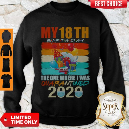 Nice My 18th Birthday The One Where I Was Quarantined 2020 Mask Vintage Sweatshirt