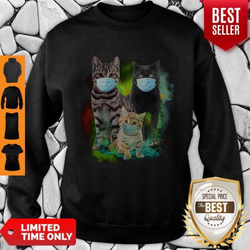 Cute Cat Wear Face Mask Tee Sweatshirt