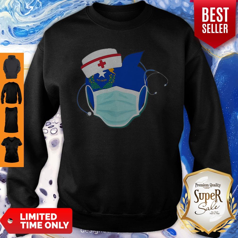 Apple Nurse Stethoscope Nevada Flag Covid-19 Sweatshirt