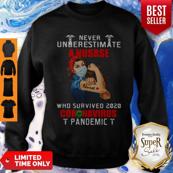 Strong Girl Never Underestimate A Nurse Who Survived 2020 Coronavirus Pandemic Sweatshirt