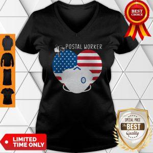 Official Heart American Flag Mask Postal Worker V-neck