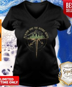 Official Always Take The Scenic Route Compass V-neck