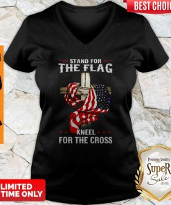 American Flag Stand For The Flag Kneel For The Cross V-neck