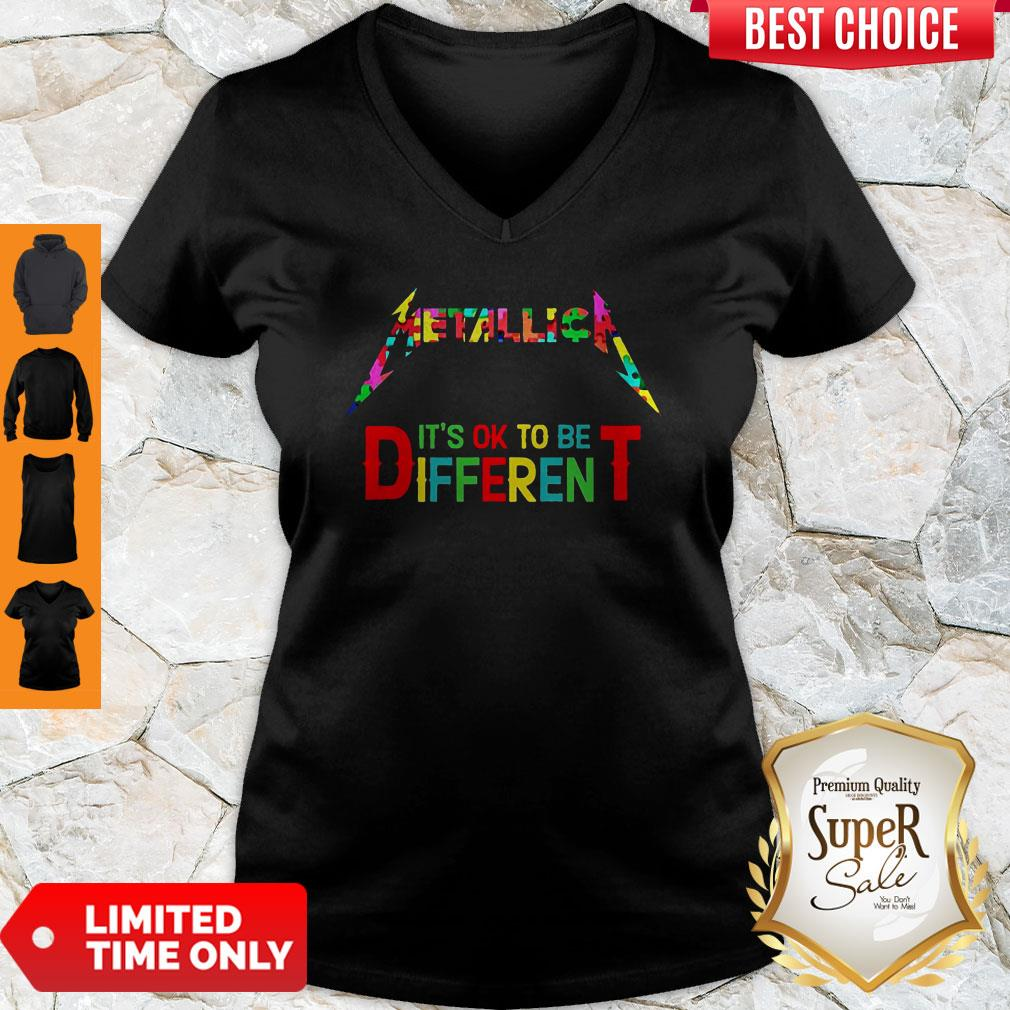 Official Metallica It's Ok To Be Different Autism Puzzle V-neck