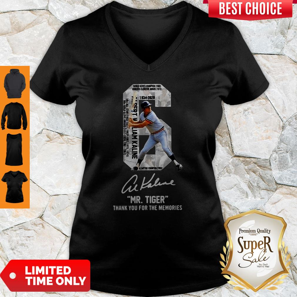 Albert William Kaline Signature Mr Tiger Thank You For The Memories V-neck