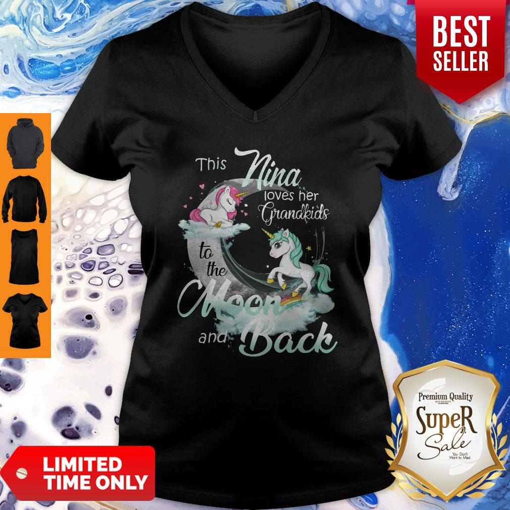 This Nina Loves Her Grandkids To The Moon And Back Unicorn Womens V-neck