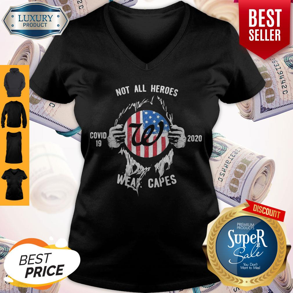 Blood Insides Walgreens Covid 19 2020 Not All Heroes Wear Capes American Flag V-neck