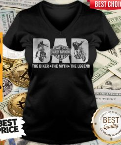 Fathers Day Dad Motor Harley Davidson Cycles The Biker The Myth The Legend V-neck
