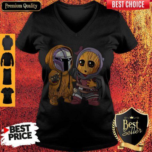 Pretty Baby Boba Fett And Baby Groot V-neck