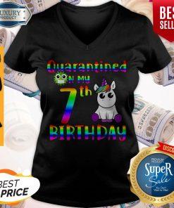 Pretty Unicorn Quarantined On My 7th Birthday V-neck