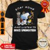 Snoopy And Woodstock Mask Stay Home And Listen To Bruce Springsteen Shirt
