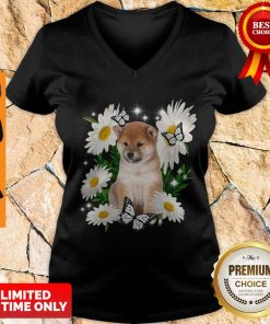 Top Shiba Inu Daisy Flower Classic V-neck