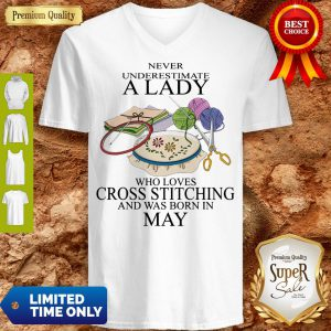 Lady Who Loves Cross Stitching And Was Born In May V-neck
