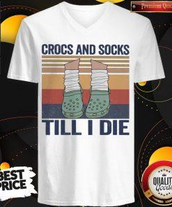 Funny Crocs And Socks Till I Die Vintage V-neck