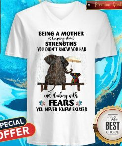 Funny Elephant Being A Mother Strengths Autism V-neck