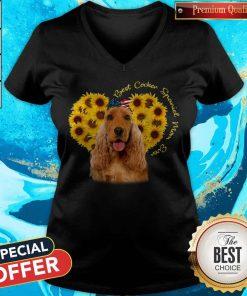 Nice Best English Cocker Spaniel Sunflower Mom Ever V-neck