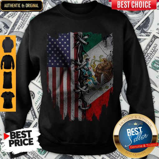 Premium Mexican And American Flag Sweatshirt