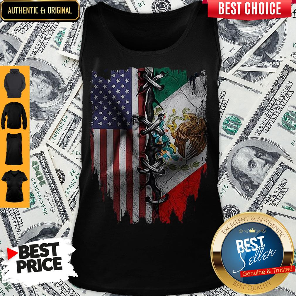 Premium Mexican And American Flag Tank Top