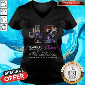 Pretty 42 Year Of Prince 1978 2020 Thank You For Your Music Signature V-neck