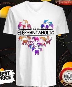 Pretty Heart I Am An Elephant Aholic V-neck
