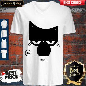 Pretty Meh Black Cat V-neck
