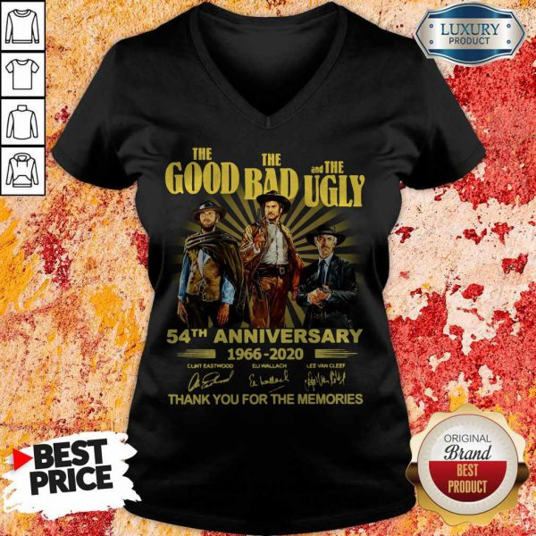 The Good The Bad And The Ugly 54th Anniversary 1966 2020 Thank You For The Memories Signatures V-neck