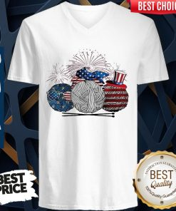 Top Knitting Yarn Firework American Independence Day V-neck