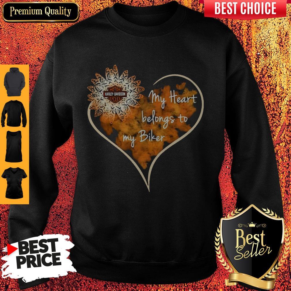 Top My Heart Belongs To My Biker Sweatshirt