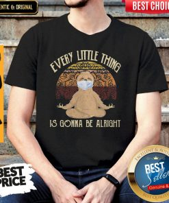 Yoga Sloth Mask Every Little Thing Is Gonna Be Alright Vintage Shirt