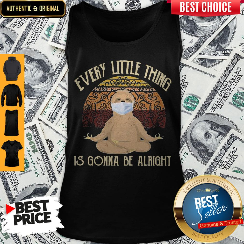 Yoga Sloth Mask Every Little Thing Is Gonna Be Alright Vintage Tank Top