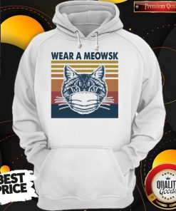Funny Cat Face Mask Wear A Meowsk Vintage Retro Hoodie