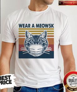Funny Cat Face Mask Wear A Meowsk Vintage Retro Shirt