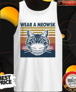 Funny Cat Face Mask Wear A Meowsk Vintage Retro Tank Top