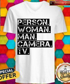 Funny Person Woman Man Camera TV US V-neck