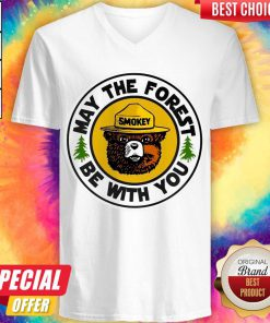 Funny Smokey Bear May The Forest Be With You V-neck