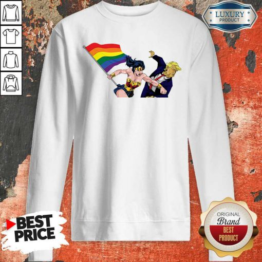 Premium LGBT Wonder Woman Punch Trump Sweatshirt