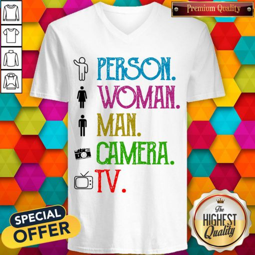 Pretty Person Woman Man Camera TV Song 2020 V-neck