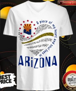 Top A Piece Of My Heart And Soul Lives In Arizona Map V-neck