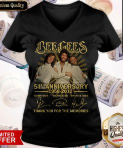Bee Gees 54th Anniversary 1958 2012 Thank You For The Memories Signatures V-neck