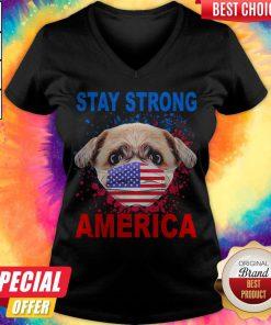 Funny Shih Tzu Face Mark Stay Strong America V-neck