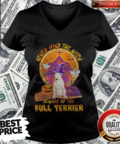 Nice Never Mind The Witch Beware Of The Bull Terrier Halloween V-neck