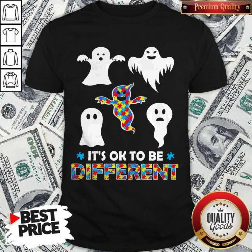 Pretty Halloween Autism Awareness Boo Ghosh It's Ok To Be Different Shirt
