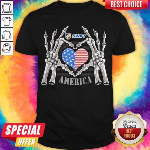 Swift Logo America USA Forever Skeleton Skull Bones Hand Shirt