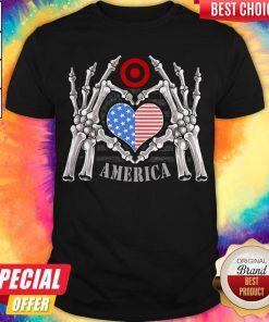 Target Logo America USA Forever Skeleton Skull Bones Hand Shirt
