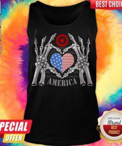 Target Logo America USA Forever Skeleton Skull Bones Hand Tank Top