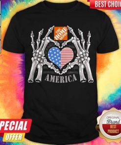 The Home Depot Logo America USA Forever Skeleton Skull Bones Hand Shirt