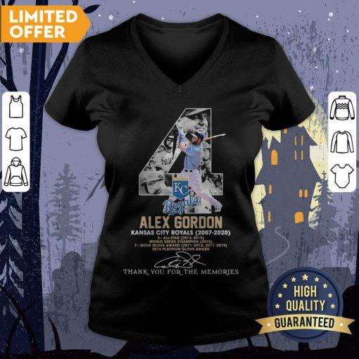 4 Alex Gordon Kansas City Royals 2007-2020 Thank You For The Memories Signatures V-neck