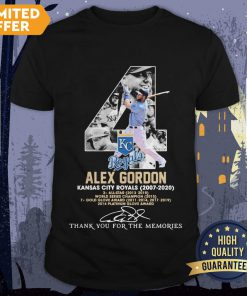 4 Alex Gordon Kansas City Royals 2007-2020 Thank You For The Memories Signatures Shirt